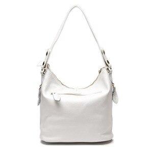 Image 3 - Элегантная женская сумка на плечо Zency, белая сумка хобо из 100% натуральной кожи, Дамский мессенджер, кошелек, украшение с подвеской и замком
