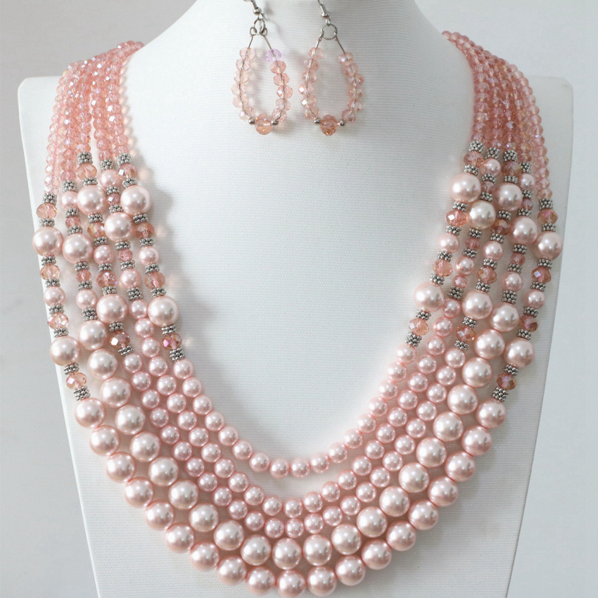 Top quality pink round shell simulated-pearl 5 rows necklace glass crystal earrings for women free shipping jewelry set B983-16