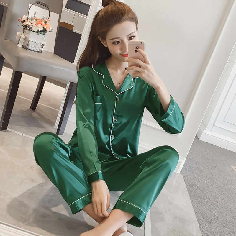 Kadın Ipek Saten Pijama Pijama Set Uzun Kollu Pijama Pijama Pijama Takım Kadın Uyku Iki Parçalı Set Loungewear Artı Boyutu