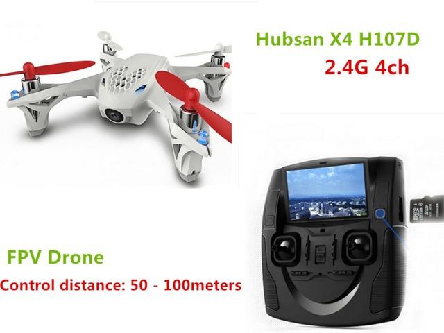 Hubsan x4 h107d helicóptero de control remoto de luces led 0.3mp cámara de alta definición 6 Axis Gyro Quadcopter 4 Canales USB Plug Motor Del Cepillo Dron