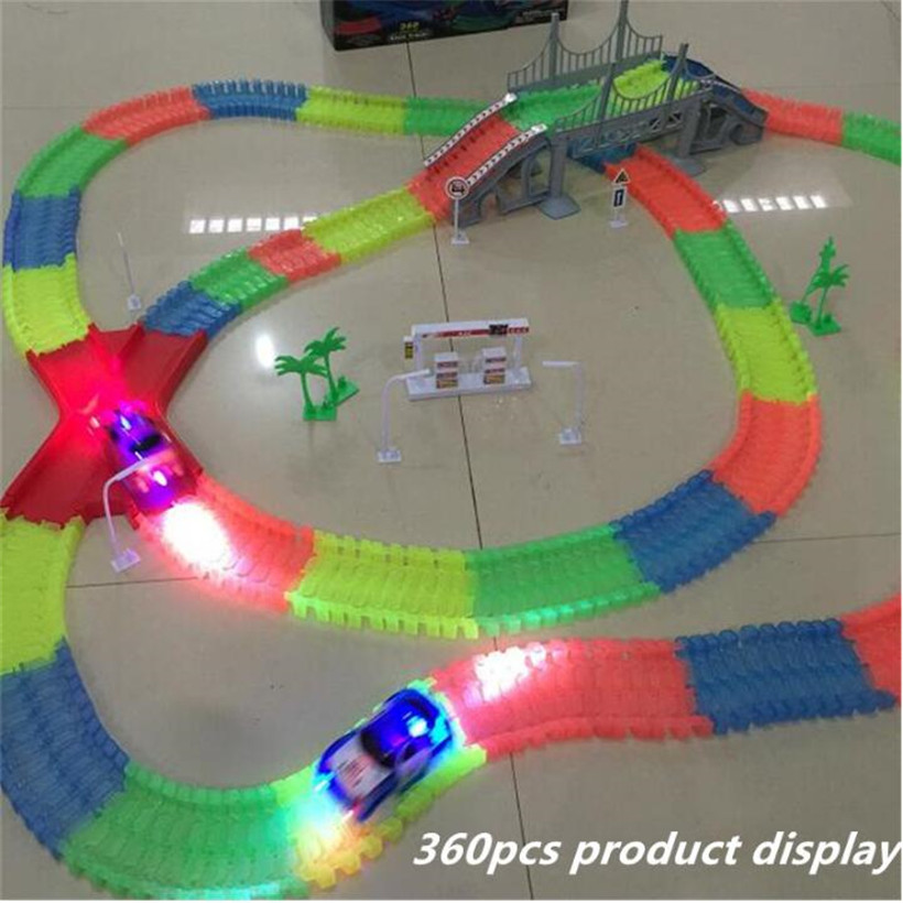 Luminous Track Toy Car Set Glowing Race Track Bend 56/165/220/240/360pcs LED Flash In The Dark Assembly Car Toy Glow Racing Toys viciviya glowing race track set diy miracle racing car in dark glow track led car 44 100 165 220 240pcs rail car kids toys gifts