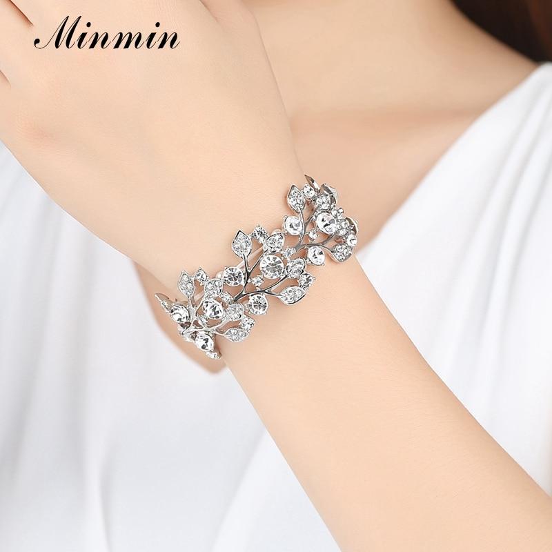 Minmin Crystal Leaf Silver Färg Bridal Armband för kvinnor - Märkessmycken - Foto 2