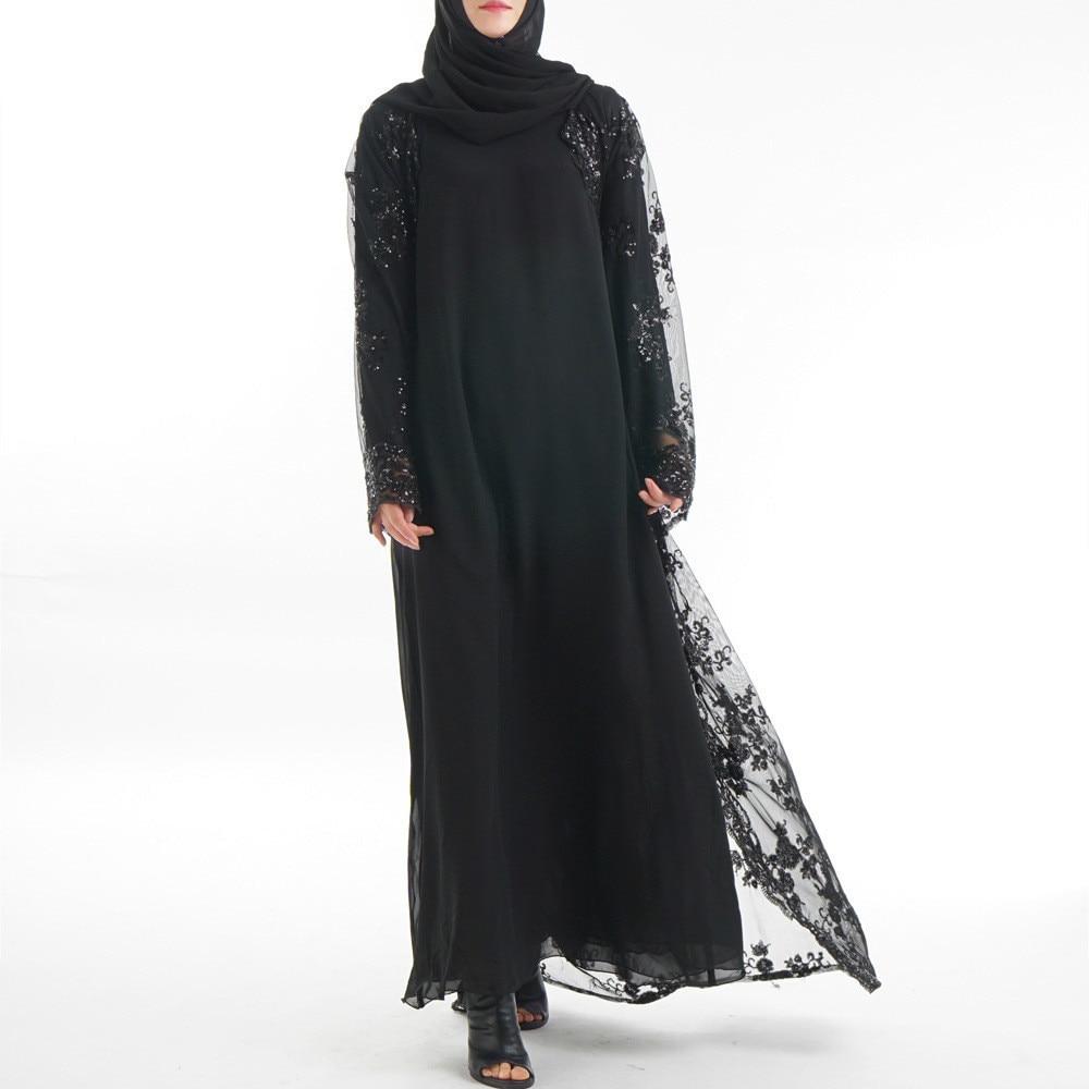 Plus Size 2018 Autumn Abaya Dubai Sexy Women Long Sequined Lace Mesh Kimono  Cardigan Muslim Hijab Dress Turkish Islamic Clothing-in Islamic Clothing  from ... eae5c0d73fd4