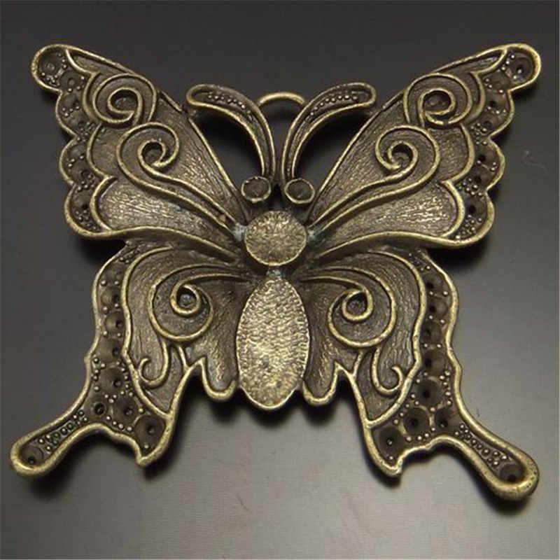 4 cái/gói Retro Phong Cách Necklace Pendant 64*56 mét Antique Phong Cách Vintage Bronze Hợp Kim Tone Bướm Charms Trang Sức Mặt Dây 02133