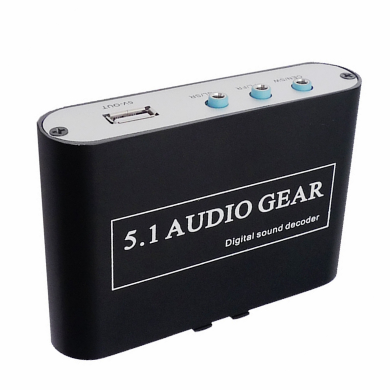 NEW 5.1 AC3 DTS HD Audio Gear Sound Decoder Stereo Digital Audio Converter LPCM To 5.1 Analog Output 2.1 DVD PC HD034HQ-26 digital ac3 optical to stereo surround analog hd 5 1 audio decoder 2 spdif ports hd audio rush for hd players dvd xbox360