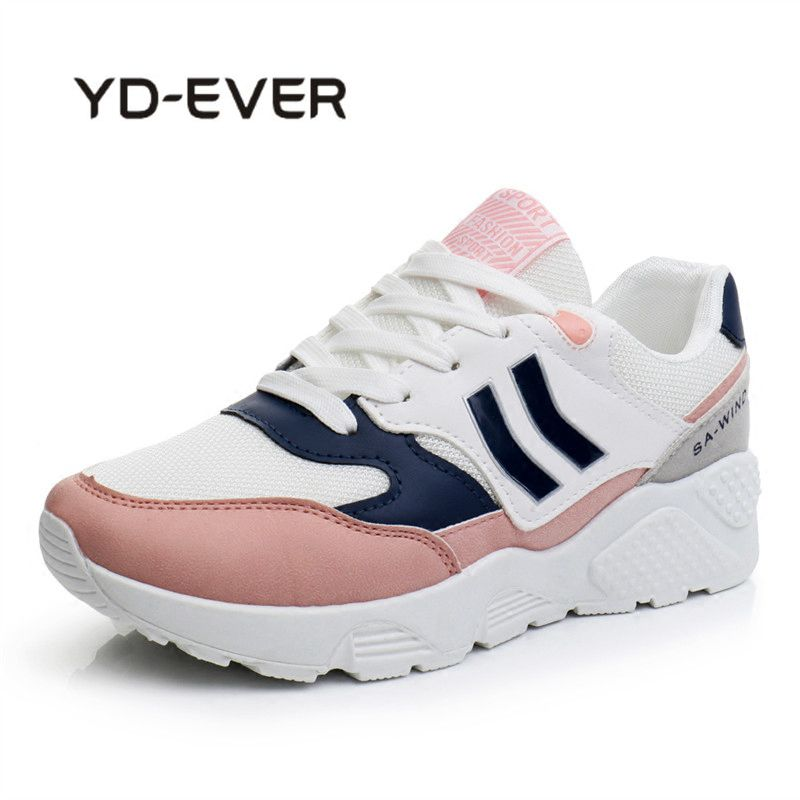 YD-EVER Women Genuine Leather Womens Platform Sneaker Fashion Women Dad White Shoes Casual Woman Lace Up Special Footwear