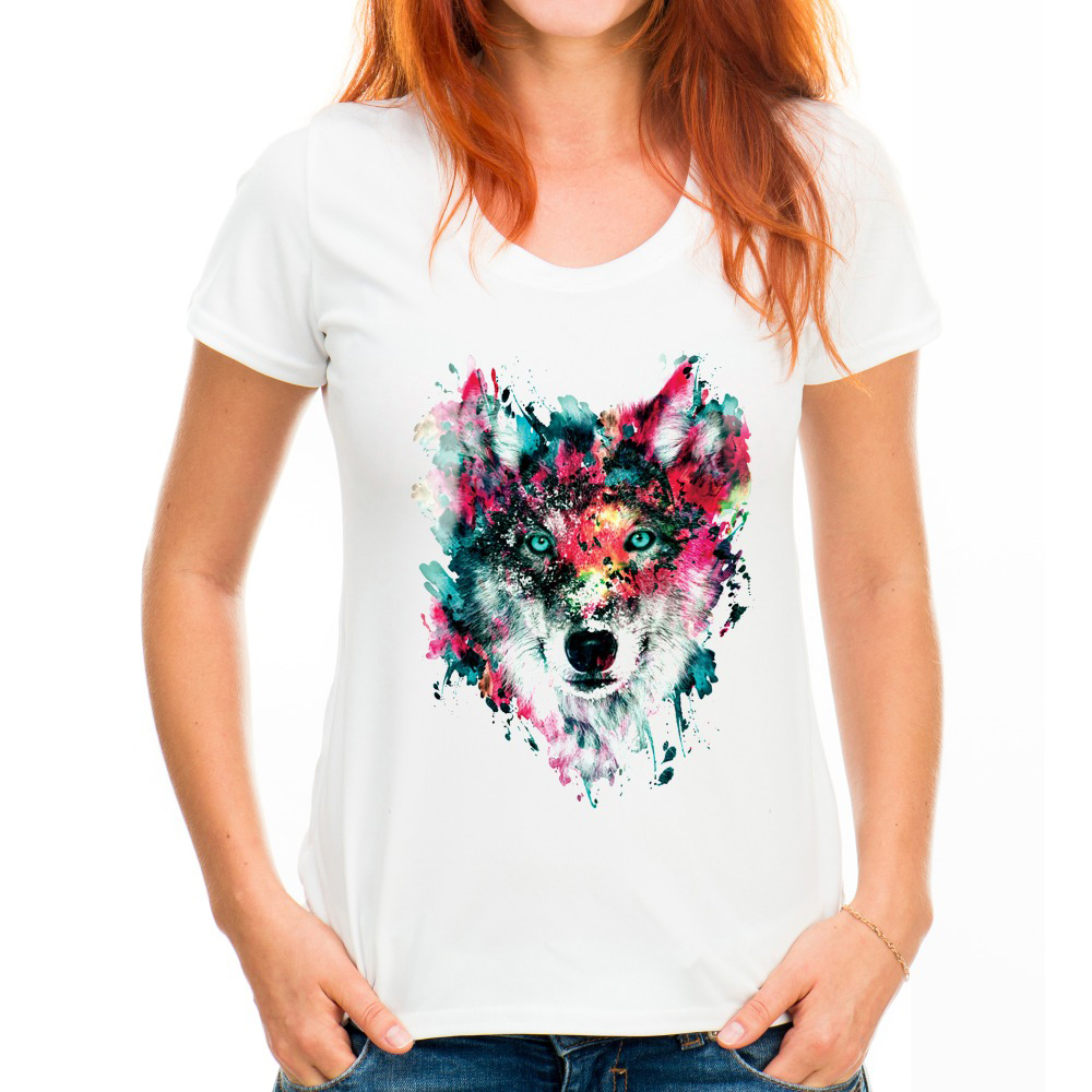 2017 New Women Fashion Cool Wild Animal Color Art Design T shirt Novelty Colorful Wolf H ...