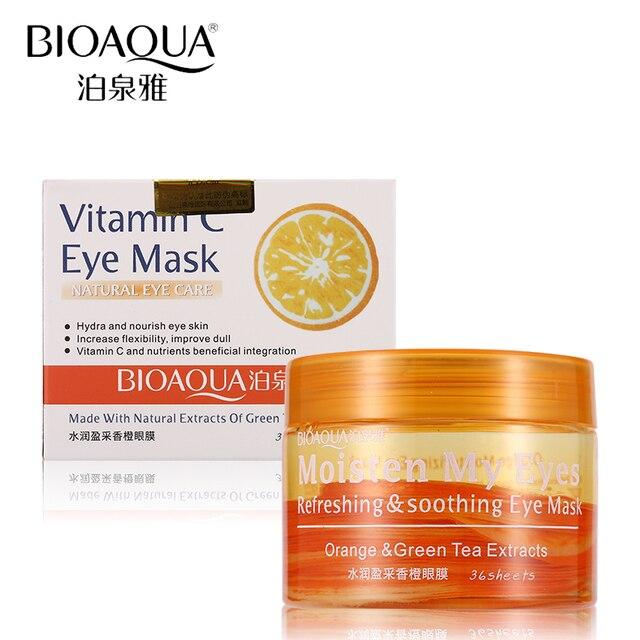 BIOAQUA Brand Eye Mask Orange Vitamin C Essence Skin Care Remove Dark Circle Moisturizing Anti-wrinkle Anti-aging Eye Masks