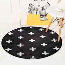 Nordic Gray White Children Play Tent Floor Mat Geometric Pattern Round Carpets For Living Room Cloakroom