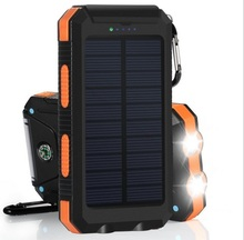 Solar Power Bank Dual USB 20000mAh External Battery Portable Charger Bateria Pack Waterproof IP68 With Compass Carabiner