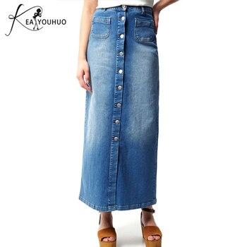 Faldas de mujer a la moda de verano 2019, falda larga informal con botones, dobladillo y parche con abertura frontal, Falda de tubo con corte en la cintura para mujer