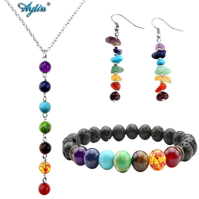 7 Chakra Healing Balance Pulseras collar pendientes joyería conjuntos con caja mujer Lava Yoga Reiki oración Wish piedra XMAS Pulseras