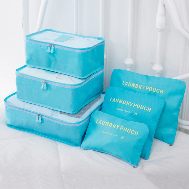 6PCs/Set Travel Storage Cubes Tidy Pouch Luggage Waterproof Organizer Bag