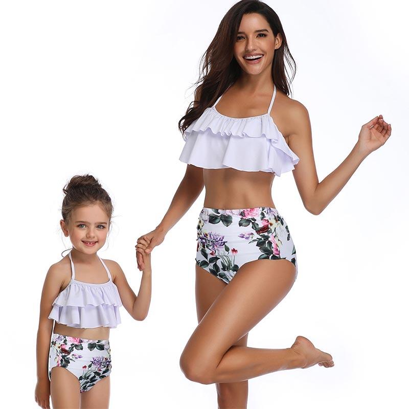 mother daughter swimwear clothes high waist bikini floral
