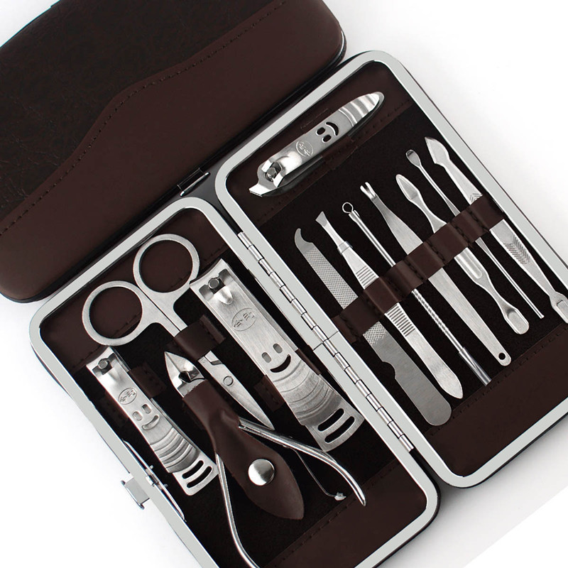 12 PCS/set Nail Art Manicure Tools Set Nails Clipper Scissors Tweezer Knife Manicure Sets Stone Pattern Case For Nail Manicure stylish 24 pcs smile expression pattern nail art false nails page 1