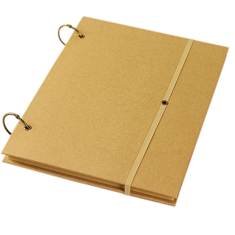 2 Holes A4 Vintage Kraft Cover Sketch Book , drawing book holes