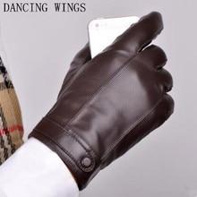 Men Gloves Sheepskin Winter Warm Driving Gloves