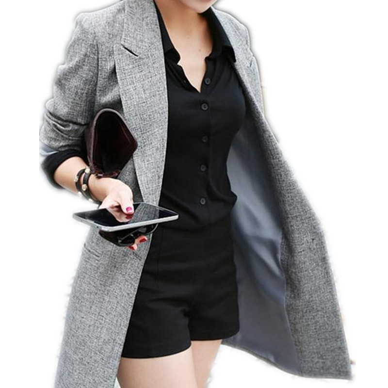 new arrival Women Blazers fashion long jacket plus size cotton blend coat gray single button coat