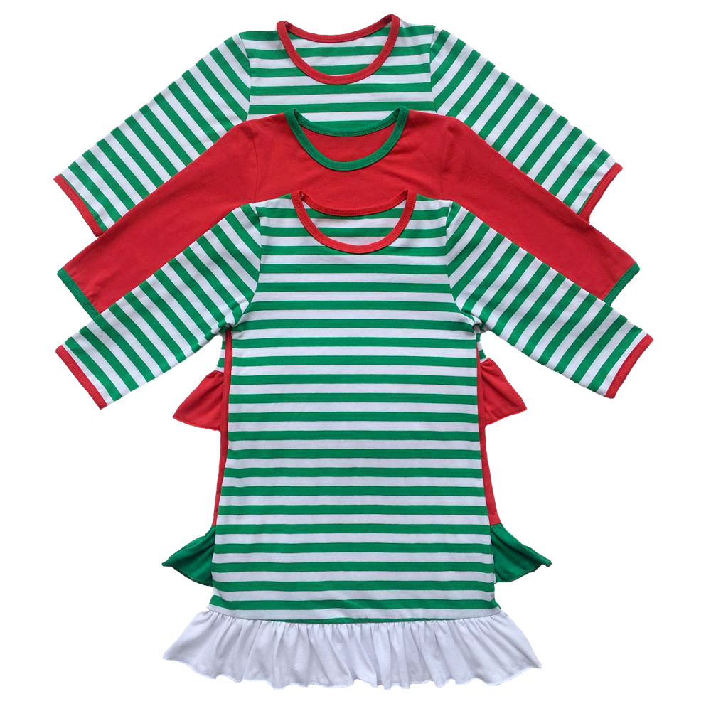 Girls Christmas Nightgown Ruffle Dress Girls Christmas Pajamas Red And White Stripe personalized custom initial monogram Dress