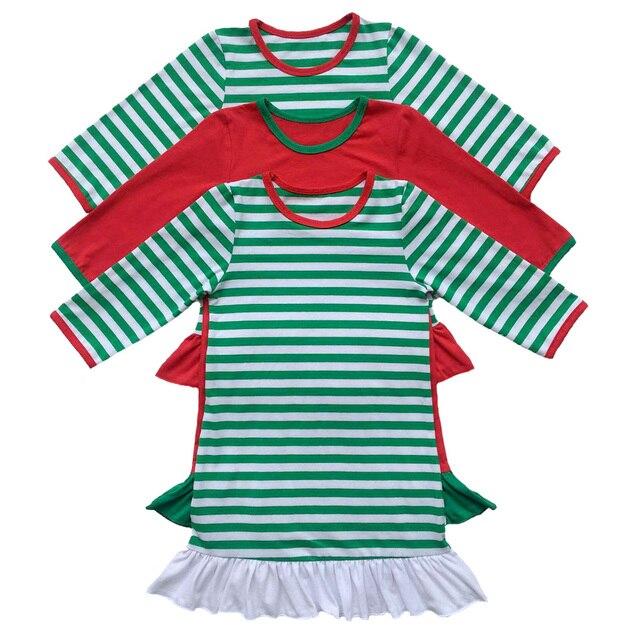 girls christmas nightgown ruffle dress girls christmas pajamas red and white stripe personalized custom initial monogram