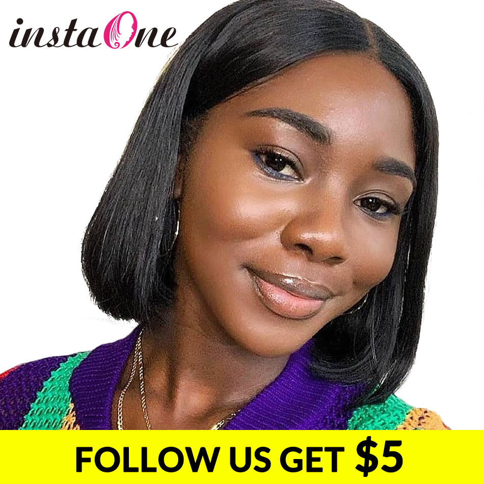 Instaone 8-24Inch Lace Front Human Hair Wigs Straight Brazilian 4x4 Bob Short Closure Wigs For Black Women Virgin Hair Extension(China)