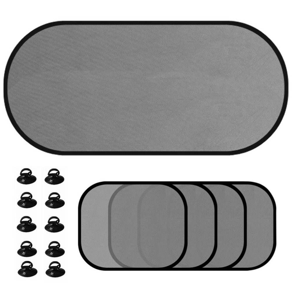 5pcs/set Car Window Sunshade Mesh Auto Sun Visor Curtain With Suction Cup Front Rear Side Curtain Car Styling Covers Sunshade