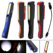 New Mini COB LED Pen Light Clip Magnet USB Rechargeable Work Torch Flashlight Lamp DC112