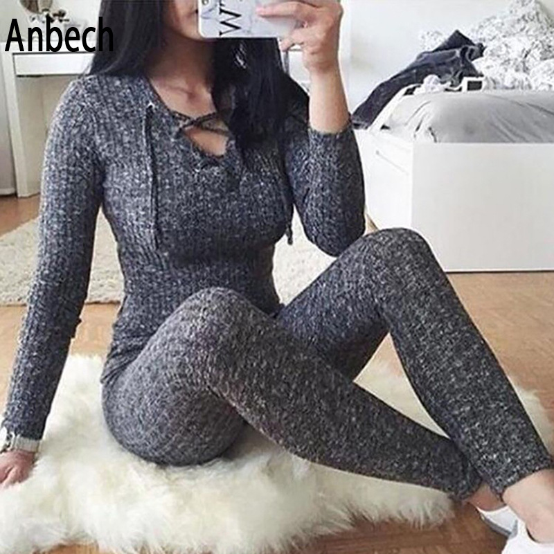 Zogaa 2019 new hot sexy slim long-sleeved jumpsuit Europe and America V-neck lace jumpsuit Price $23.53