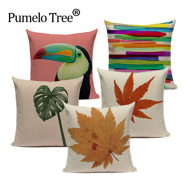 Fashion Simple Nordic Style Textil Maple Leaves Spring Cushion 45Cmx45Cm Square Valentine Day Gift Handmade Throw Pillows