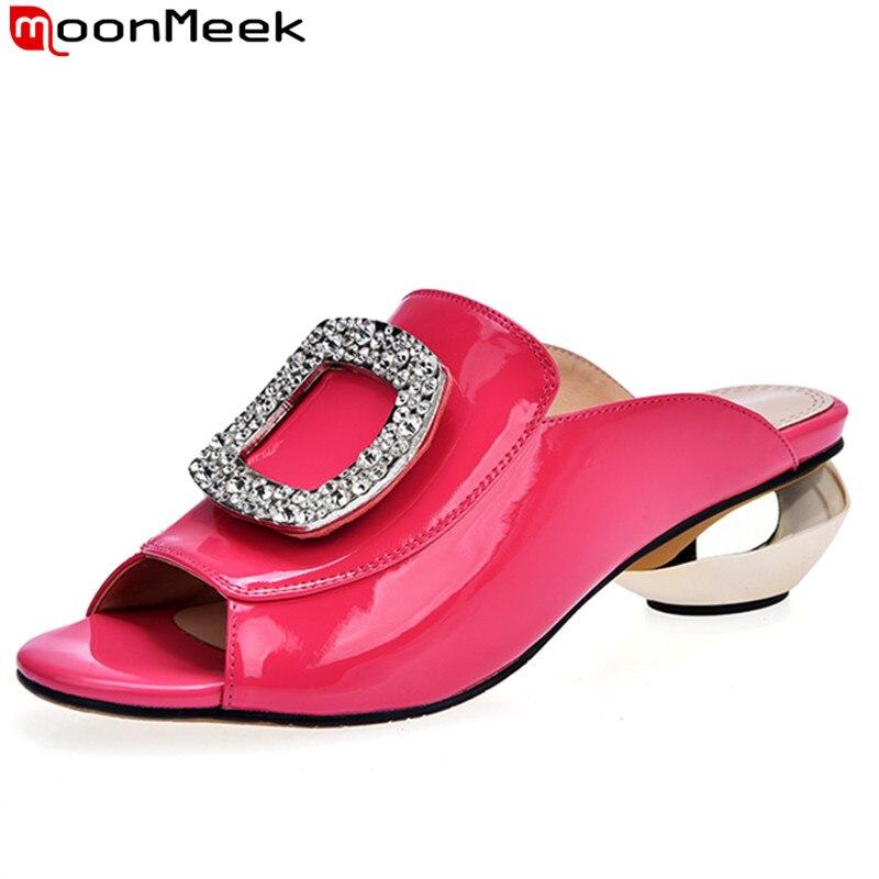 ФОТО MoonMeek 2017 new arrive women pumps fashion genuine leather shallow rhinestone lady summer shoes leisure ladies prom shoes