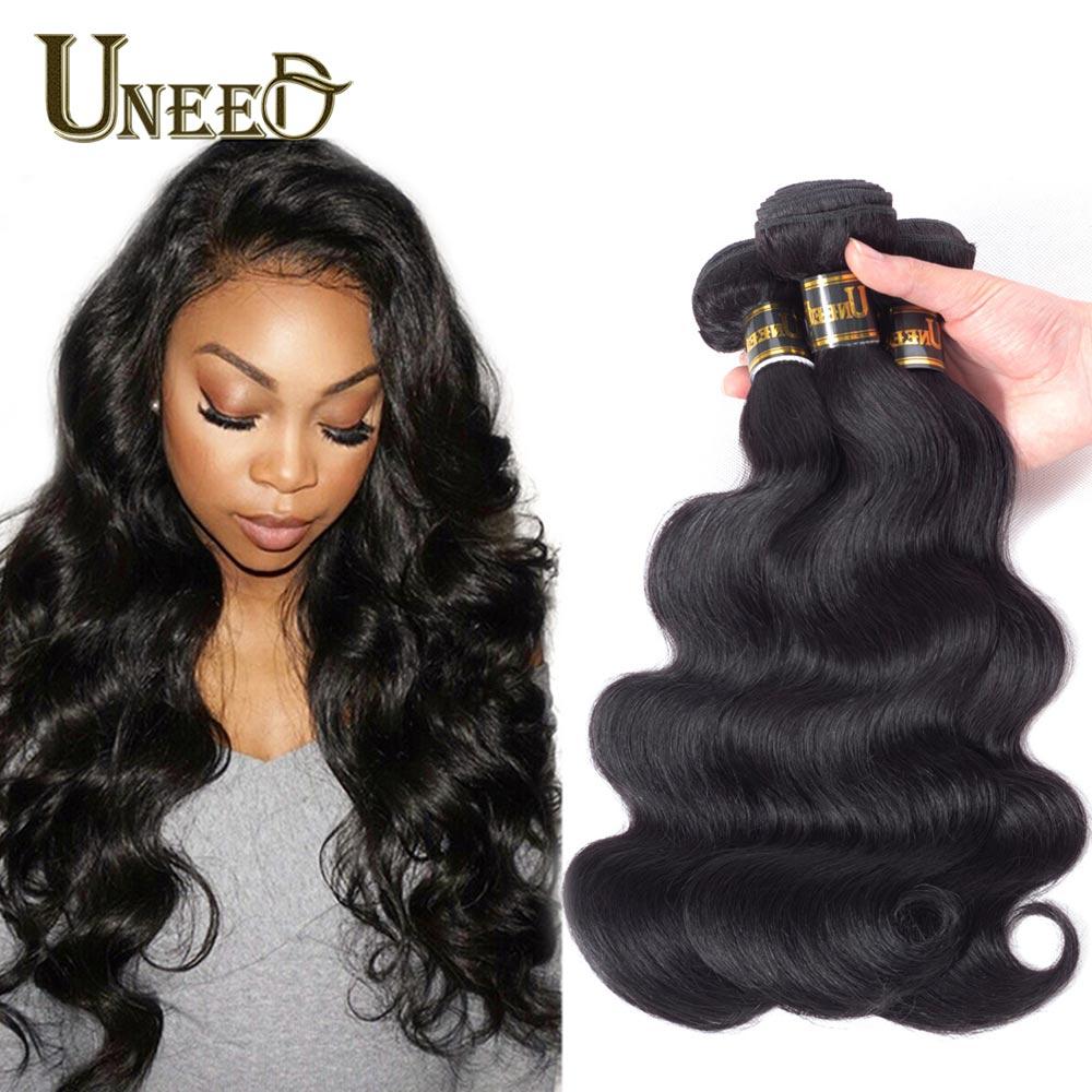 Uneed Haar Braziliaanse Body Wave Hair Extensions 100% Remy Human Hair Weave Bundels Natuurlijke Kleur Gratis Verzending Kopen 3 of 4 bundels