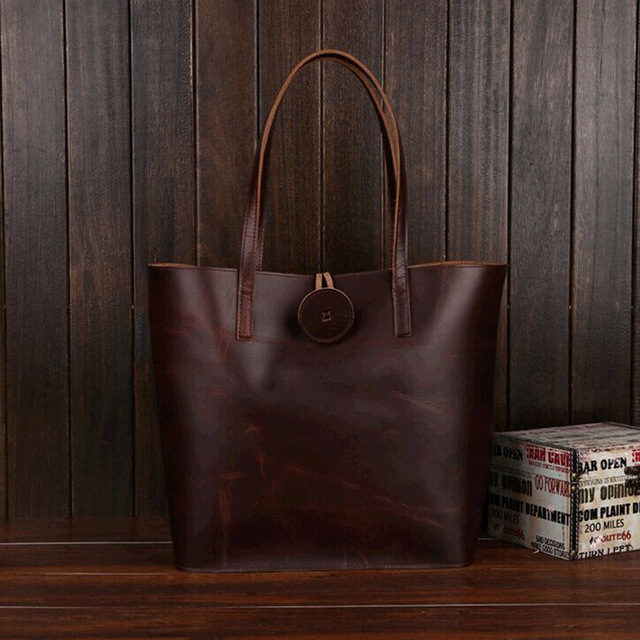 New shopping bags fashion Crazy horse First layer of leather Big bag retro leather shoulder package men and women