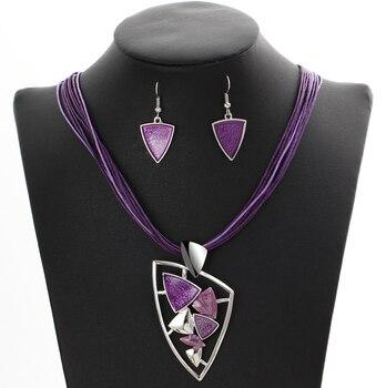Leather Chain Enamel Gem Jewelry Set 5
