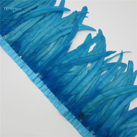 10 yard Lake Blue Rooster Feathers Trim 35 40cm Chicken Feather Ribbon For Wedding Party Decoration DIY Clothes Accessories