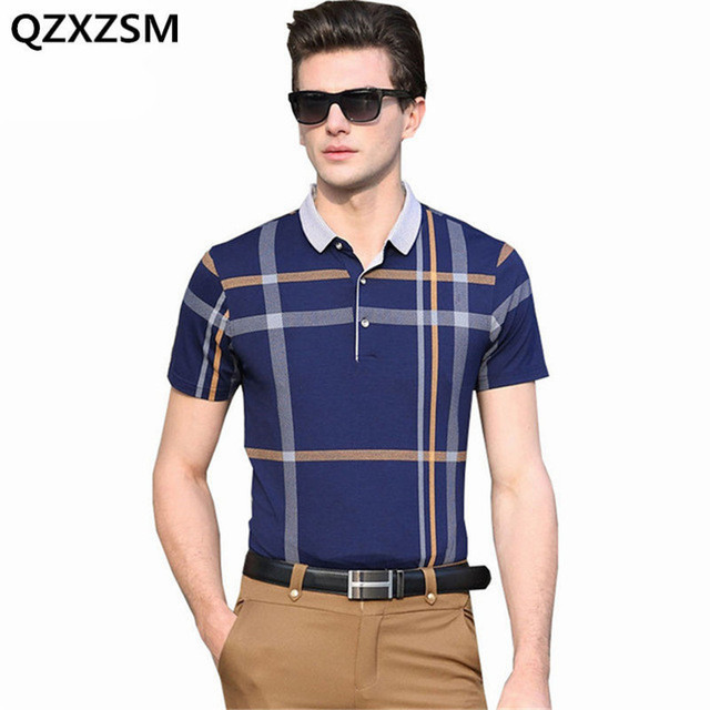 QZXZSM 2017 brand Men polo shirts thin models Men s plaid hit color polo  shirts casual men s short-sleeved lapel polo shirt e6af2c36f979