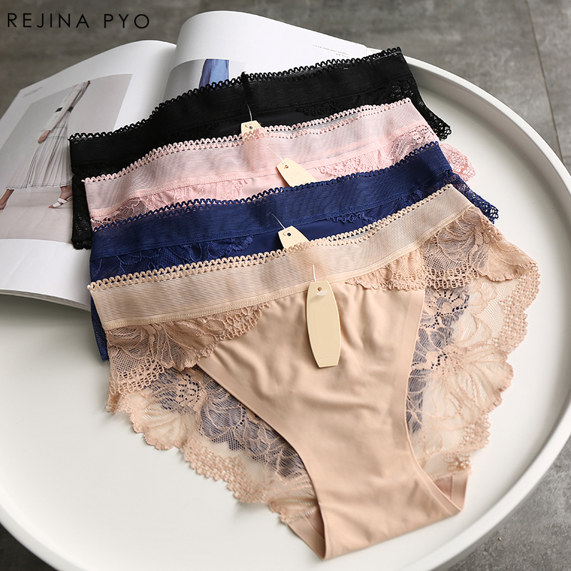 REJINAPYO Sexy   Panties   Comfortable Briefs Exquisite 4Pieces Shorts Solid Lingerie Sexy Lace Hollow Out Breathable Underwear