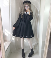 Harajuku Street Fashion Cross Cosplay Female Dress Japanese Gothic Style Star Tulle Dress Autumn Lolita Cute Girl Dresses