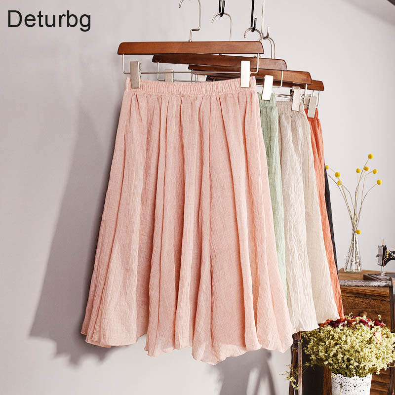New Fashion 2018 Womens Vintage 11 Color Linen High-Waist Pleated Midi Skirts Elegant Ladies Slim Elastic Waist Skirt Saias SK06