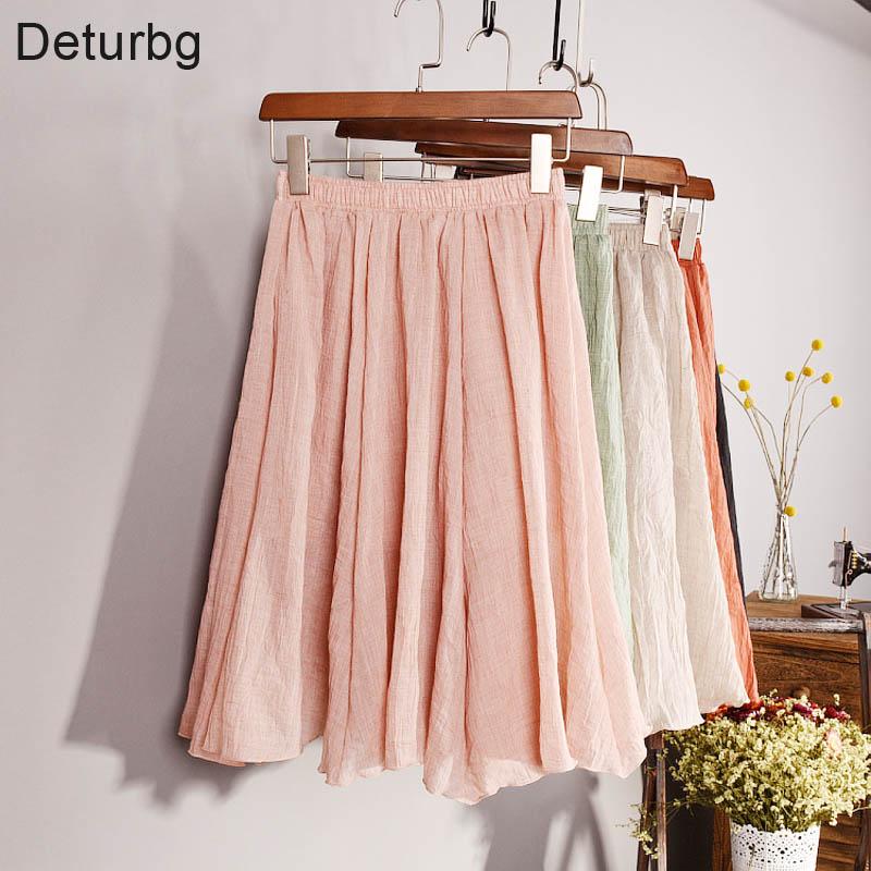Ny mode 2018 Kvinder Vintage 11 farvet linned Midi-nederdele i høj talje Planterede elegante damer Slim Elastisk talje nederdel Saias SK06