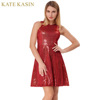 Kate Kasin Red Elegant Short Prom Dresses 2018 Sparkly Sequins Evening Prom Dress Knee Length Women
