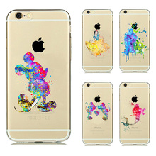 Cartoon Animal Kissing Mickey Minnie Mouse Soft Clear TPU Case Cover For Iphone 6s 6 Ariel little Mermaid Watercolor Case