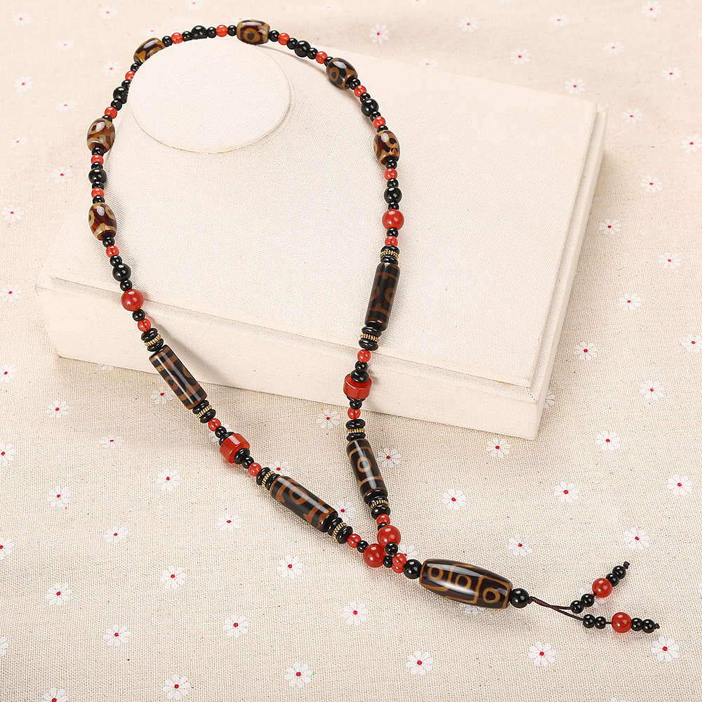 Agate Necklace Bohemia Women Long Sweater Chain Round Rolo Chain Red Beads Jewelry Black Pearl Spacer Cylinder Vintage Gemstone vintage beads feather leaf sweater chain and a pair of earrings for women
