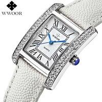 Brand Women Watches Square Diamonds Rose Gold Montre Femme Clock Ladies Casual Quartz Watch Women White