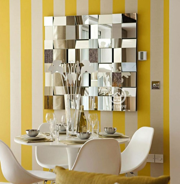 Modern Mirrored Wall Decor Beveled Polydirectional Square Mirror  Multi Facet Galss Mirror Wall Art