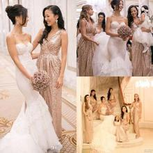 2016 Bling Long Sequins Bridesmaid Dresses Sexy V neck Pleats Ruches A Line Party Dresses Prom Formal Cheap Bridesmaid Gowns B94