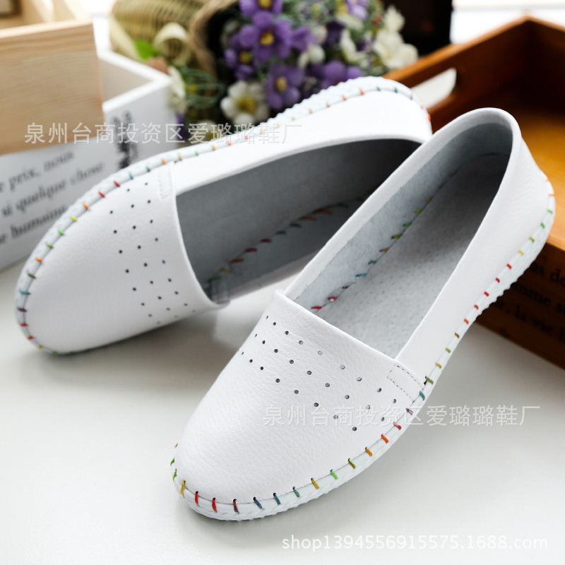 women Espadrilles flats shoes Genuine leather cut out slip on Ladies Ballet Flats loafers Female Moccasins Shoes Ballerina pinsen spring women genuine leather ballet flats casual shoes round toe slip on flats female loafers ballerina flats boat shoes