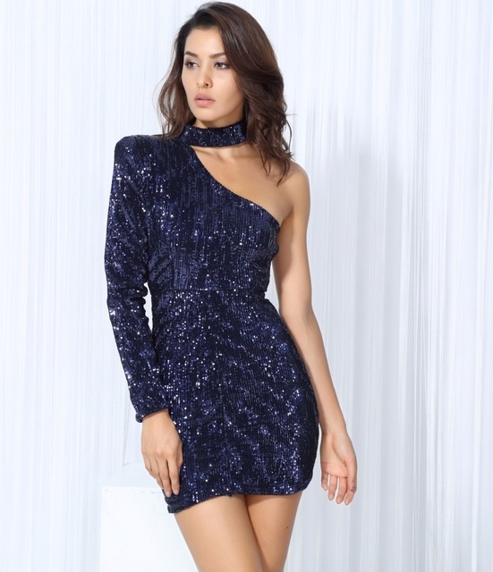 4d473ac7cf16 Navy Blue Sequin Dress Short One Shoulder Mini-in Dresses from ...