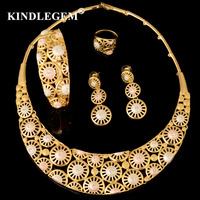 Kindlegem Designer Monet's Water Lily Flower Bijoux Fashion Luxury Dubai Gold Jewelry Set For Women Party Wedding Accessories