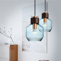 colorful Nordic glass pendant light vintage hanging Pendant Lamp Modern Restaurant lighting Minimalist Bar Led Pendant Light