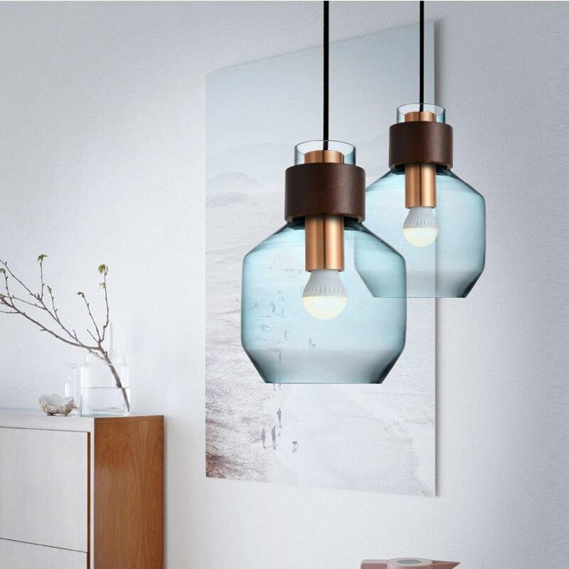 colorful Nordic glass pendant light vintage hanging Pendant Lamp Modern Restaurant lighting Minimalist Bar Led Pendant Light